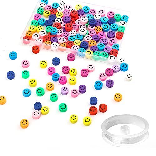 SAVITA 100 Stuks Smiley Face Kralen, met 1 Rol Elastisch Kristaltouw, Kleurrijke Zacht Aardewerk Smiley-Kralen voor…