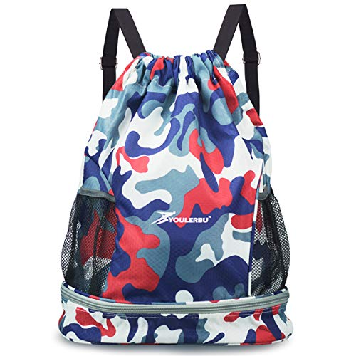 Drawstring Backpack Bag with Shoe and Wet Compartment Sports Gym Swim Beach Bag Camored