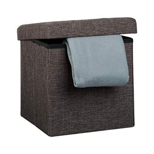 Relaxdays Tabouret pliant en lin pouf de rangement pliable repose-pieds de stockage carré 38 x 38 x 38 cm avec couvercle amovible assise table appoint ottoman coffre chaise banquette, brun