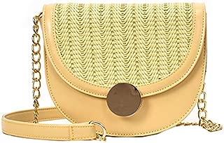 TOOGOO Summer Woven Semi-Circle Saddle Bag New Texture Wild Fashion Crossbody Shoulder Bag White