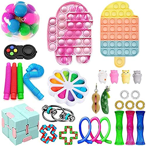 Sensory Fidget Toy Set, Stress Relief Poppet Game, Silicone Popper Toy Special Toys Assortment for Birthday Party Bag Fillers Rewards Treasure Box Prizes