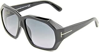 TF 266 01B Elise Shiny Black Oversized Rectangular Sunglasses