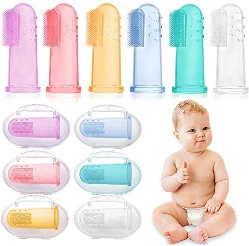 Cepillo de Dientes Bebé,Suave Cepillo de Dientes Silicona, Cepillo de Dientes Para Niños/Infantil, Entrenamiento, 6 Piezas Multicolor Cepillo Dientes Bebe Silicona Cepillo Dedo Bebe Para 0-24 Meses