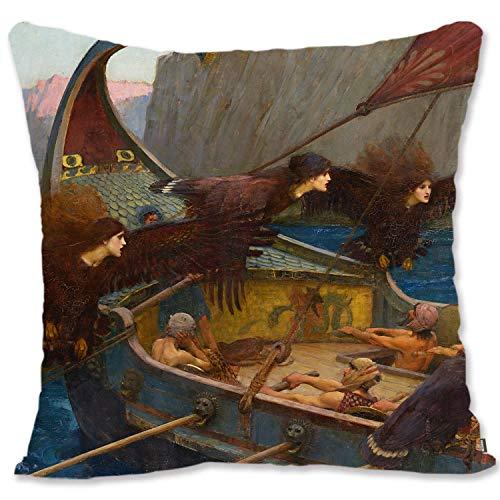 BONNIU Funda Decorativa Cojin Cremallera 60X60 cm Protectores Almohada Terciopelo Humanas Art - Waterhouse - Ulises Y Las Sirenas