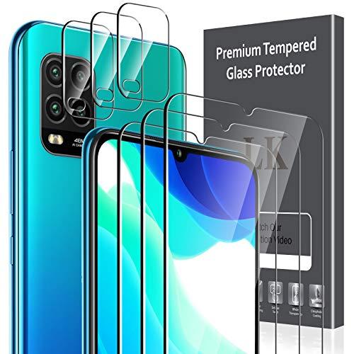 LK Compatible con Xiaomi Mi 10 Lite 5G Protector de Pantalla,3 Pack Cristal Templado y 3 Pack Protector de Lente de cámara, Doble protección