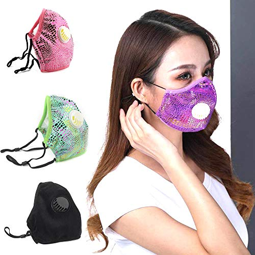 Reusable Face Masks with Respirator Valve Washable Dust Mask Unisex Adult Breathable Full Face Masks for Outdoor Indoor (2015CM, Purple)
