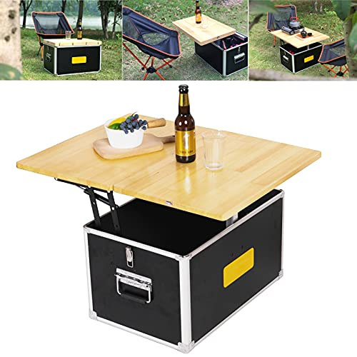 Mesa de picnic portátil, mesa de vino portátil, caja de almacenamiento de coche al aire libre, caja de mesa de camping, portátil, picnic, cocina móvil, aluminio + madera, 24 lb/11 kg
