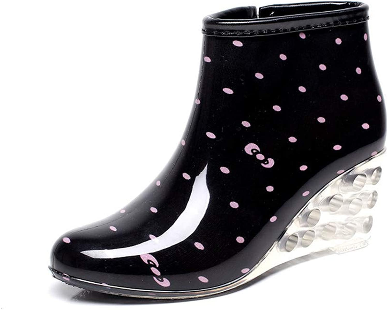 Women's Fashion High-Heeled Waterproof Elastic Slip on Short Rain Boots Garden Boot