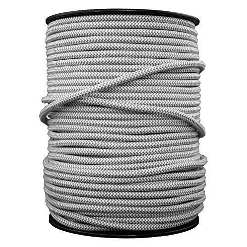 smartect Cavo elettrico Tessuto - Grigio-Bianco - 50 Metro cavo tessile intessuto - Tripolare (3 x 0.75mm²) - Cavo elettrico rivestito per Fai da Te
