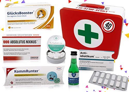 40. Geburtstag | Erste Hilfe Set Geschenk-Box, witziger Sanikasten | 8-teilig | Spaßgeschenk zum 40. Geburtstag