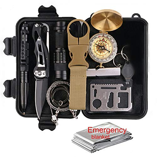 Camping Gear Survival Kit: Emergency Survive Tool Wilderness for Men and Women in Cars Hiking tactical Compass flashlight credit card knifes 11-1 multi-tool bottle clip saw tactical pen and more