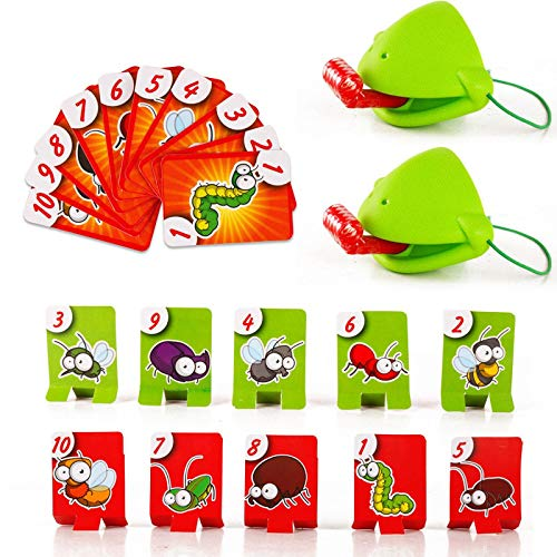 JiYanTang Tongue Game Lengua Juego de atrapar Insectos Tic TAC Lengua Camaleón atlético Lengua Pegada Juego de Cartas Rompecabezas Verde