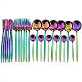 Conjunto de vajillas de Cocina 24pcs Red Gold Cutlery Set Shiny Colorful Flotware Set 18/10 Silopables de Acero Inoxidable Vajilla de Oro Juego de Cuchillo y Tenedor (Color : Rainbow)