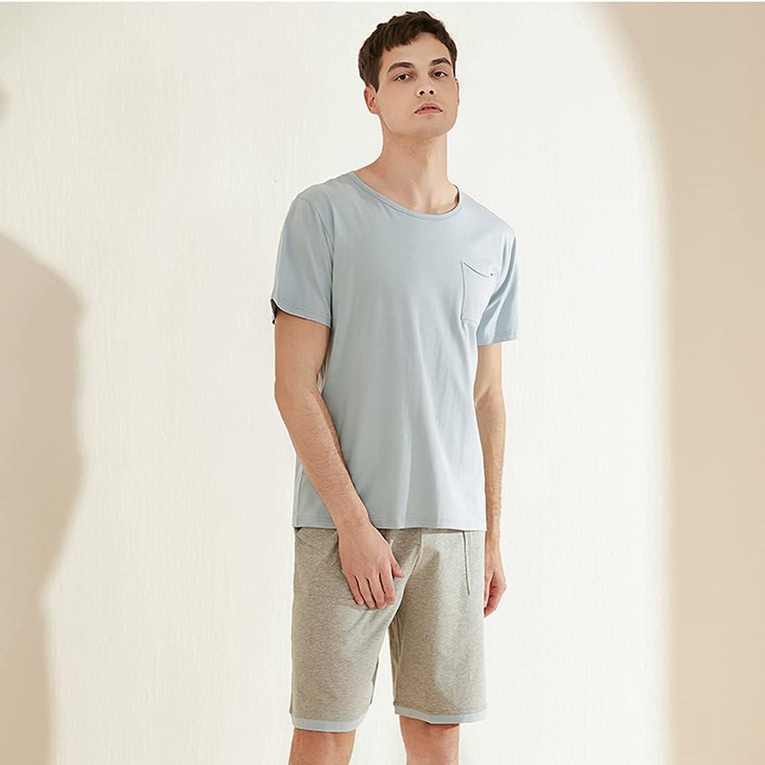 Summer Mens Round neck Pajama Set Short Sleeve Shirt Shorts with Pocekts Sets Sleepwear Pjs Set Lightweight L-3XL