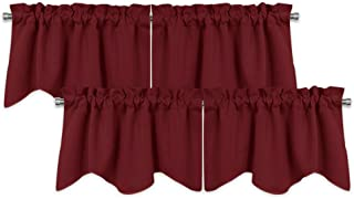 PONY DANCE Valances and Curtains Set - Half Window Curtain Scalloped Tiers Christmas Decorative Blackout Drapes with Rod Pocket for Basement, 42 x 18 inch, Red, Sold as 2 Pair