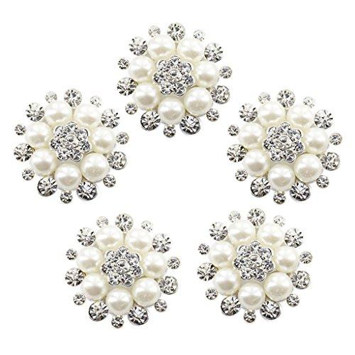 Cristal Phenovo Falsa Perla Flor Boton De Decoracion 30mm Bricolaje 5pcs Amarillento
