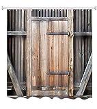 A.Monamour Rústico Retro Jardín Valla Tablones De Madera Granero Puerta De Garaje 3D Tejido De Poliéster Resistente Al Moho Resistente Cortinas De Ducha De Tela Poliester para El Baño 150x180 cm