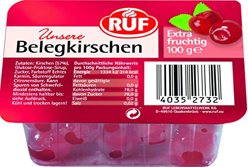 RUF Rote Cocktailkirschen extra fruchtig und alkoholfrei, 1x 100g