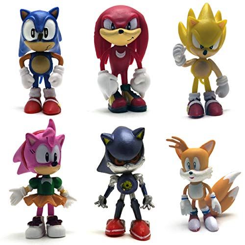 Sonic The Hedgehog Action Figures - Set of 6 Sonic Action Figures Cake Toppers (2.4-3')