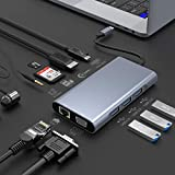 Hub USB C 10 in 1, Docking station USB tipo C a doppio display con 4K HDMI, VGA, Gigabit Ethernet, tipo C, scheda SD / TF, 3 USB, Audio, Dock USB C compatibile per MacBook, Altro laptop USB C