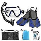 Odoland Snorkel Set 6-in-1 Snorkeling Packages with Diving Mask, Adjustable Swim Fins, Mesh Bag, Waterproof Case and Beach Blanket, Anti-Fog Anti-Leak Snorkeling Gear for Men Women Adult, Blue M