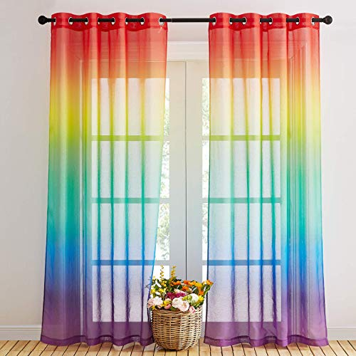 NICETOWN Rainbow Sheer Curtains for Bedroom Girls Room Decor 2 Tone Ombre Pattern Window Semi Short Sheer Curtains for Girly Nursery Kids Daughter Room (55 x 84 Inch Length, Set of 2)