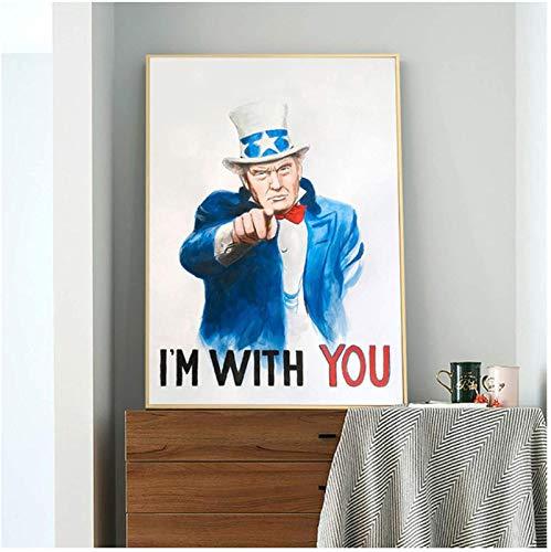 RuiChuangKeJi Cuadros de Pared 60x80cm con Marco Trump Estoy contigo Carteles Presidente Divertido Impresión de Lienzo Pinturas Arte de la Pared Imágenes para la Sala de Estar Decoración del hogar