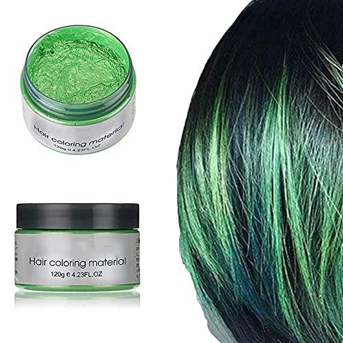 Cera per capelli styling per uomini e donne Crema per capelli temporanea 9 colori crema per capelli colorante usa e getta opzionale (Verde)