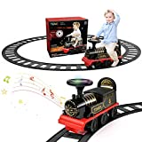 TEMI Ride On Train with Track Electric Ride On Toy w/ Lights & Sounds Storage Seat Train Toy Ride for Kids Christmas Birthday Gift Riding Car Train for Children Baby Toddlers Boys & Girls Age 2-6