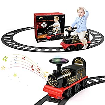 TEMI Ride On Train with Track Electric Ride On Toy w/ Lights & Sounds Storage Seat Train Toy Ride for Kids Birthday Gift Riding Car Train for Children Baby Toddlers Boys & Girls