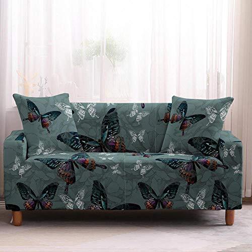 Alayth Sofá Antideslizante Protector Funda De Sofá con Estampado Floral De Mariposa Colorida Spandex Protector De Muebles para Decoración del Hogar-3-Seater_Color4