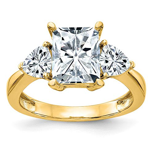 14k Yellow Gold 2 1/5ct. Three Stone D E F Pure Moissanite Engagement Band Ring Size 7.00 ?stone Fine Jewellery For Women Mothers Day Gifts For Her