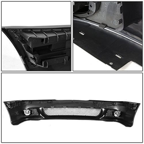 Replacement for BMW E39 5-Series Unpainted ABS M5 Style Front Bumper + Mesh Grille + Fog Light