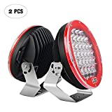 Led Light Bar Nilight 2PCS 9'185w 17000LM Red Round Spot Light Pod Off Road Fog Driving Roof Bar Bumper for Jeep,SUV Truck, Hunters, 2 years Warranty