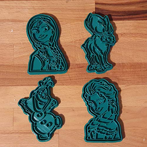 Set di 4 Tagliabiscotti formine con i personaggi del film Frozen (Elsa, Anna, Olaf, Sven)
