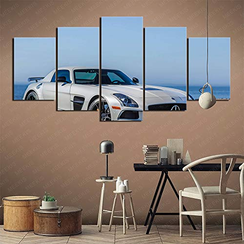 CAFO New house gift White Mercedes SLS AMG HD poster printing 3D vision Five Panel 100x50cm Frameless