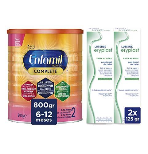Enfamil Complete 2 Leche Infantil de Continuacion para Lactantes Bebés de 6 a 12 Meses - 800 gr + Eryplast Lutsine E45 Pasta al Agua Crema Pañal Bebé - 2 x 125 ml