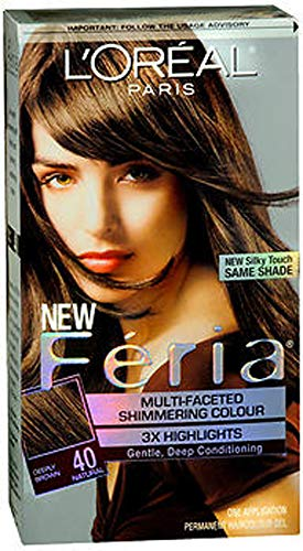 L'Oreal Feria Multi-Faceted Shimmering Colour, 40 Deeply Brown, 1 ea