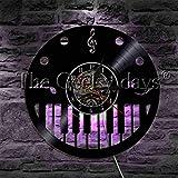 NIGU Reloj vintage agudos Clef notas musicales vinilo record reloj de pared con iluminación LED Musical Piano Notas instrumento musical LED noche lámpara de pared Decoración records