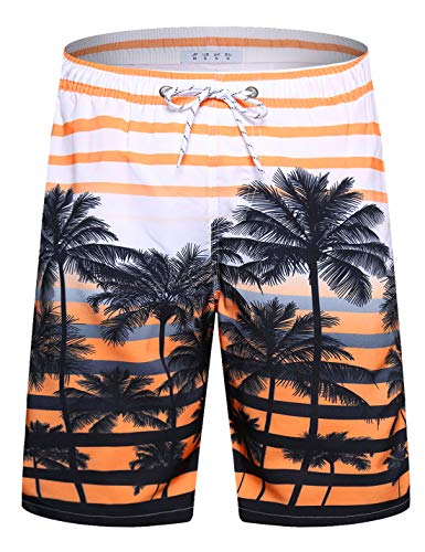 APTRO Swim Trunks Palm Beach Swimwear Board Shorts Mens Swimwear #1525 Orange XL