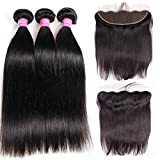 VRBest Lace Frontal With Straight 3 Bundles With Lace Frontal Closure 13x4 Free Part with Baby Hair Brazilian Virgin Human Hair Extensions Unprocessed Frontal Lace Closure Natural Color (14 16 18 +12)