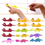 15 Pcs Slingshot Chicken & Dinosaur Rubber Toys, Stretchy Funny Slingshot Flying Chicken, Flicking Chicken Flinger Stress Gag Toy, Stretchable Slingshot Chicken for Kids Adults Festival Party Activity