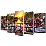 Biuteawal- 5 Panel City Wall Art Beautiful Sunrise Over Amsterdam The Netherlands Scenery Painting on Canvas Lake with Flowers and Bicycles Picture Print for Home Living Room Wall Decor Ready to Hang