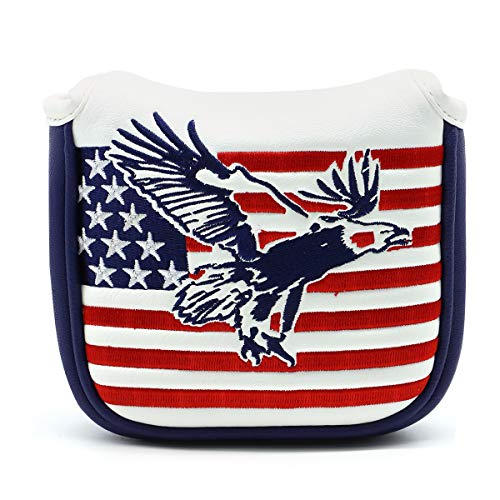 montela golf USA America Mallet Putter Cover Fit Odyssey #7 Putter Titleist Scotty Cameron (Square Mallet Putter Cover (Eagle))