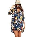 Vestido Playa Leopardo Mujer Cuello V Corto Cover Up Beach Blusa Vestidos Camisa Playas Cortos Tie Dye Túnica Playa Mujer Cover-Up Talla Grande Tallas Grandes Bikini Cover Ups Beach Dresses Zafiro 3XL