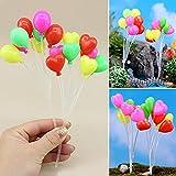 lionina 1Strauß Mini Kleine Ballon Herz & rund Mikroskopische Landschaft Deko Fairy Luftballons mit Kunststoff Tube für Puppenhaus Landschaft Garten Ornament Decor style 2 Wie abgebildet
