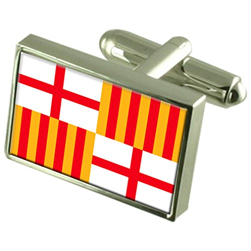 Select Gifts Stadt Barcelona Spanien Flagge Manschettenknöpfe graviert Box