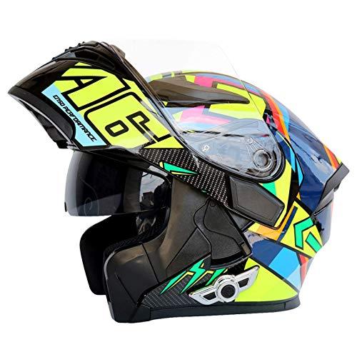 LAMZH Visa Anti-Niebla Flip Up Motorbike Bluetooth Casco con Cuernos y Bluetooth, Cascos de Motorcross para jóvenes Hombres Mujeres Adultos Unisex Allround Casco de Ciclismo,Proteccion