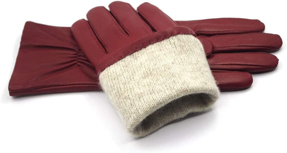 Harssidanzar Womens Italian Nappa Leather Gloves Vintage Finished Cashmere Lined