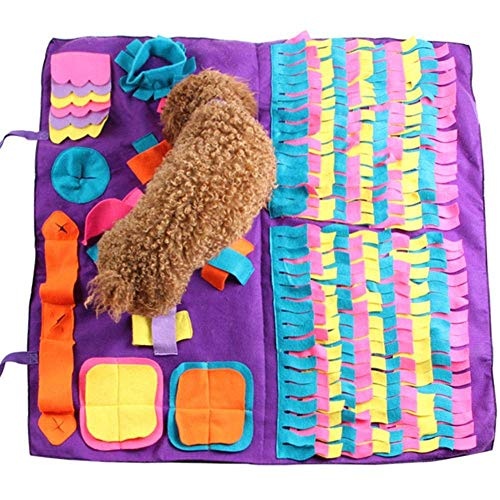 KunLS Alfombra Perro Amovible Alfombra Olfato Perro Manta Olfativa Perro Alfombrilla para Mascotas De PrevencióN De Asfixia para Perros Purple